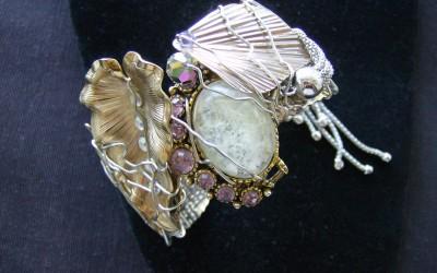 Retro design, retro metals, vintage stones, Cuff Bracelet. SOLD