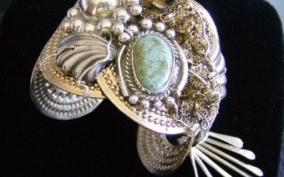 Native inspired design sterling silver, turquoise, brass Cuff Bracelet SOLD