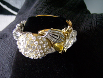 Retro design gold plated, retro and vintage stones Cuff Bracelet. SOLD