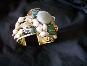 Modern design aquamarine, turquoise, fresh water pearl, vintage crystals Cuff Bracelet. SOLD