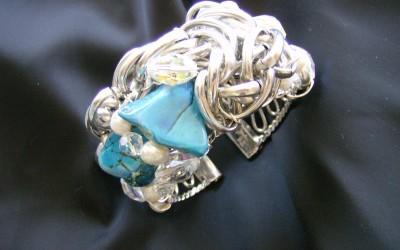 Modern design, jasper, turquoise, fresh water pearl & vintage crystal Cuff Bracelet. SOLD