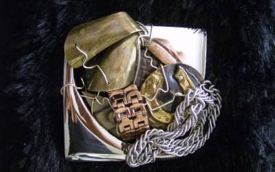 Abstract, copper, brass, steel Belt Buckle Owned by Steven Tyler of Aerosmith. SOLD