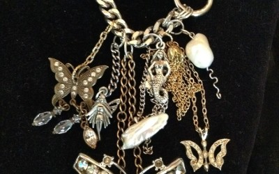 "Vintage, retro design baroque & stick pearls, vintage stones, brass, steel  Necklace approx. 21"" of variety chains $195.00 USD"