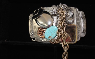Modern, abstract design turquoise, copper, brass, retro & vintage metals, retro stones Belt Buckle $225.00 USD